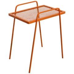 Vintage Mid-Century Modern Atomic Orange Metal Tall End Table
