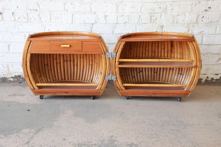 Vintage Mid-Century Modern Bamboo Dry Bar End Table In Good Condition For Sale In South Bend, IN