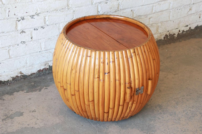 Vintage Mid-Century Modern Bamboo Dry Bar End Table For Sale 3