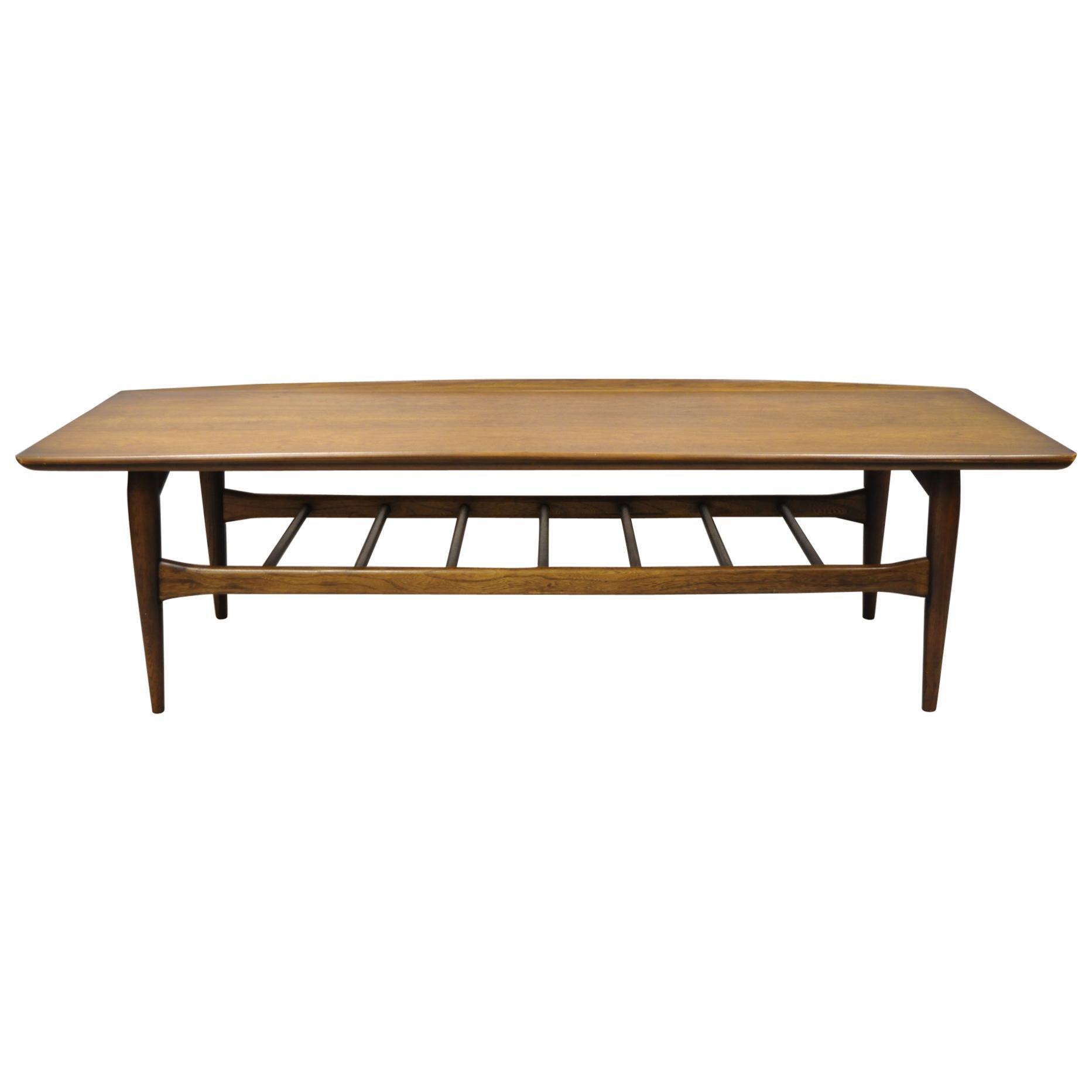 Vintage Mid-Century Modern Bassett Walnut Sculpted Edge Surfboard Coffee Table