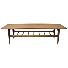 Vintage Mid-Century Modern Bassett Walnut Sculpted Edge Surfboard Coffee Table
