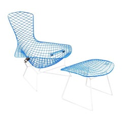 "Vintage Mid-Century Modern ""Bird"" Chair and Ottoma by Harry Bertoia for Knoll"