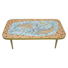 Vintage Mid-Century Modern Blue Mosaic Tile Top Coffee Table Fish and Bubbles