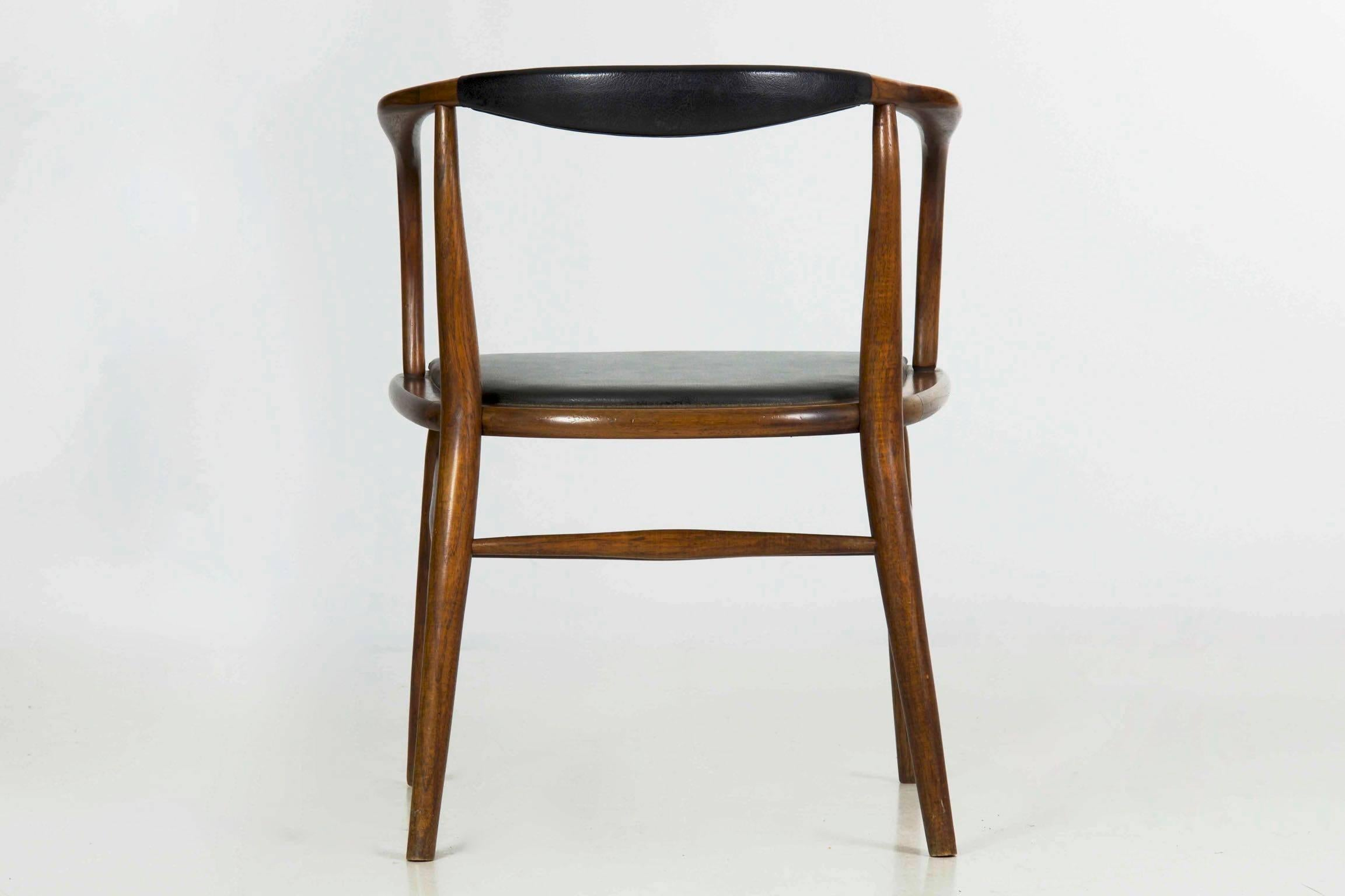 Faux Leather Vintage Mid Century Modern Boling Chair Co. Bentwood Armchair,  Circa 1958