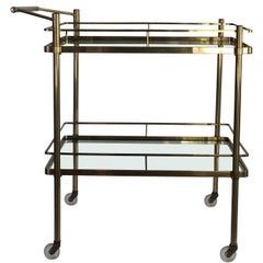 Vintage Mid-Century Modern Brass and Glass Bar Cart