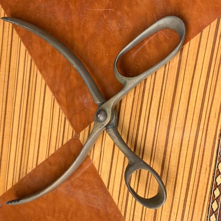 Vintage Mid-Century Modern Brass Ice Cube Tongs Scissor For Sale 2