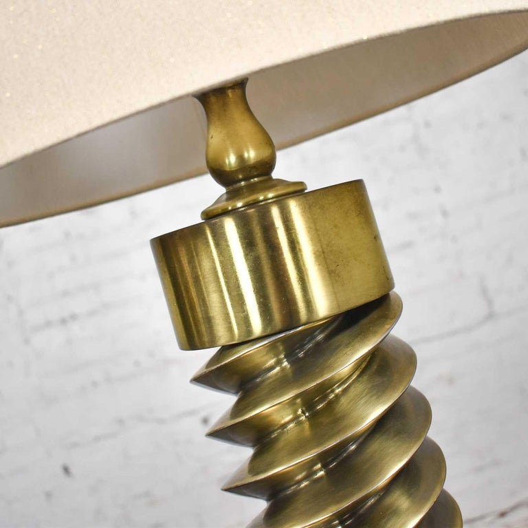 Vintage Mid-Century Modern Brass Plated Corkscrew Table Lamps New Shades a Pair For Sale 7
