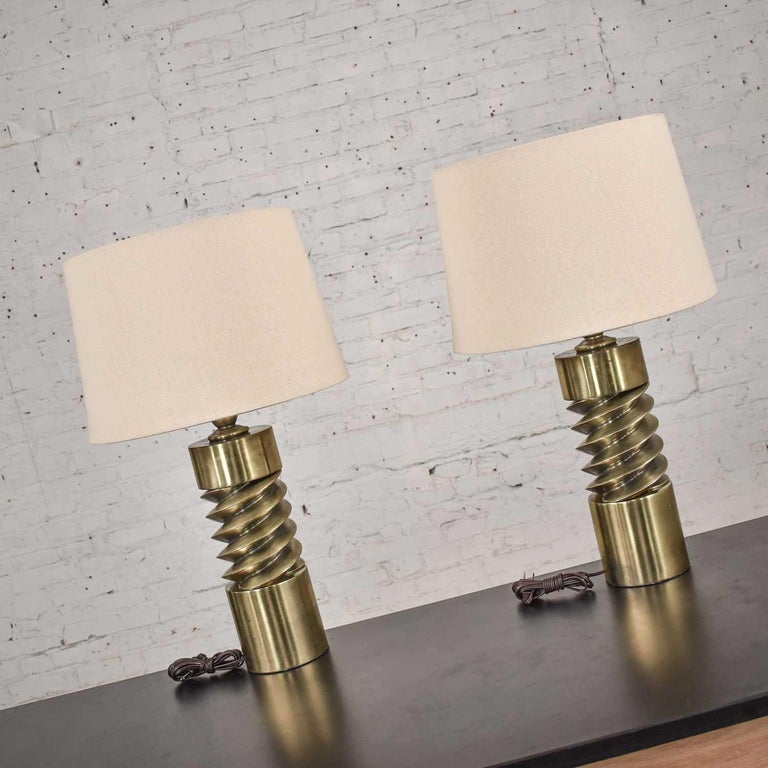 Vintage Mid-Century Modern Brass Plated Corkscrew Table Lamps New Shades a Pair For Sale 9