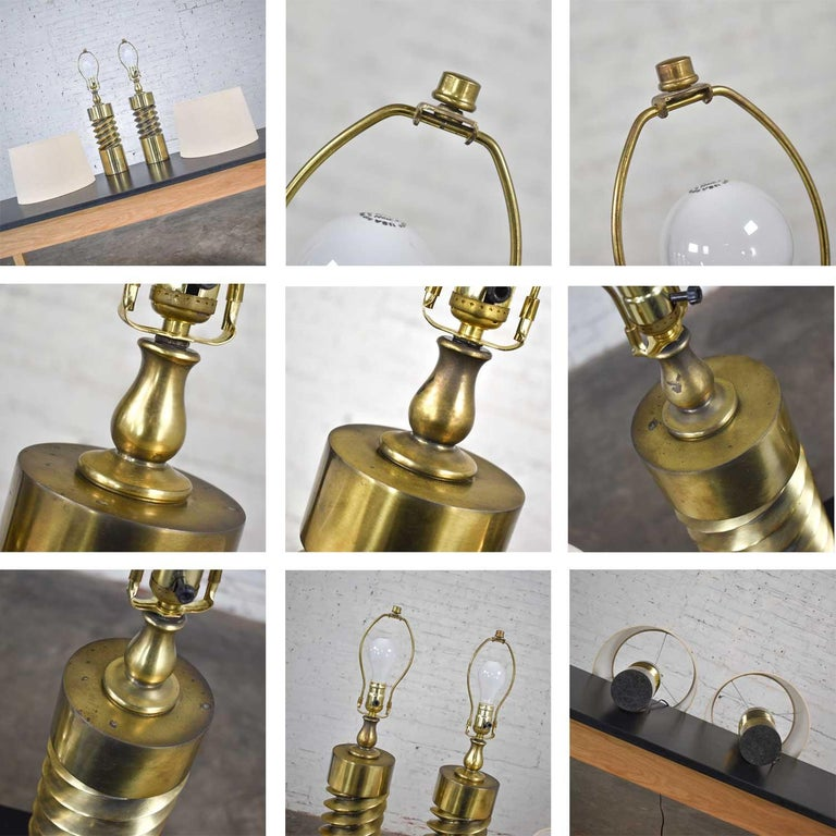Vintage Mid-Century Modern Brass Plated Corkscrew Table Lamps New Shades a Pair For Sale 14