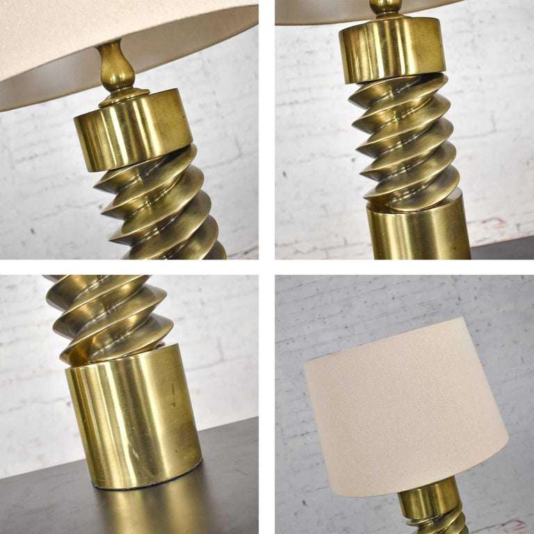 Vintage Mid-Century Modern Brass Plated Corkscrew Table Lamps New Shades a Pair For Sale 15