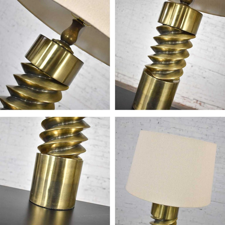 Vintage Mid-Century Modern Brass Plated Corkscrew Table Lamps New Shades a Pair For Sale 16