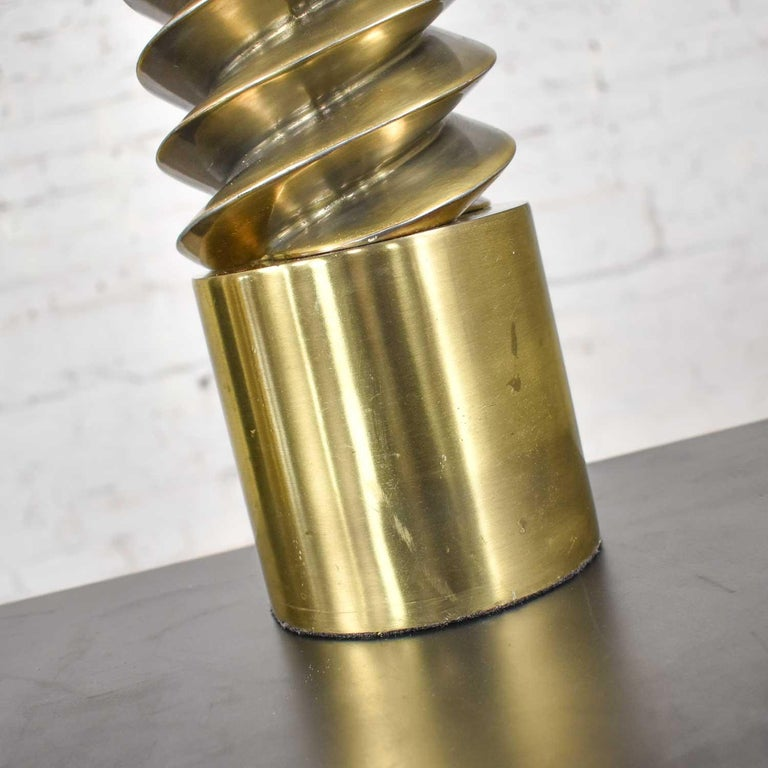 Vintage Mid-Century Modern Brass Plated Corkscrew Table Lamps New Shades a Pair For Sale 5