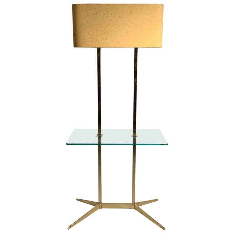 Vintage Mid-Century Modern Brass Table Floor Lamp attributed to Stiffel For Sale