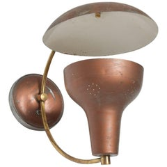Vintage Mid-Century Modern Brown Single Wall Sconce, 1950s