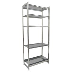 Vintage Mid-Century Modern Brushed Aluminum Chrome Frame Étagère Display Shelf