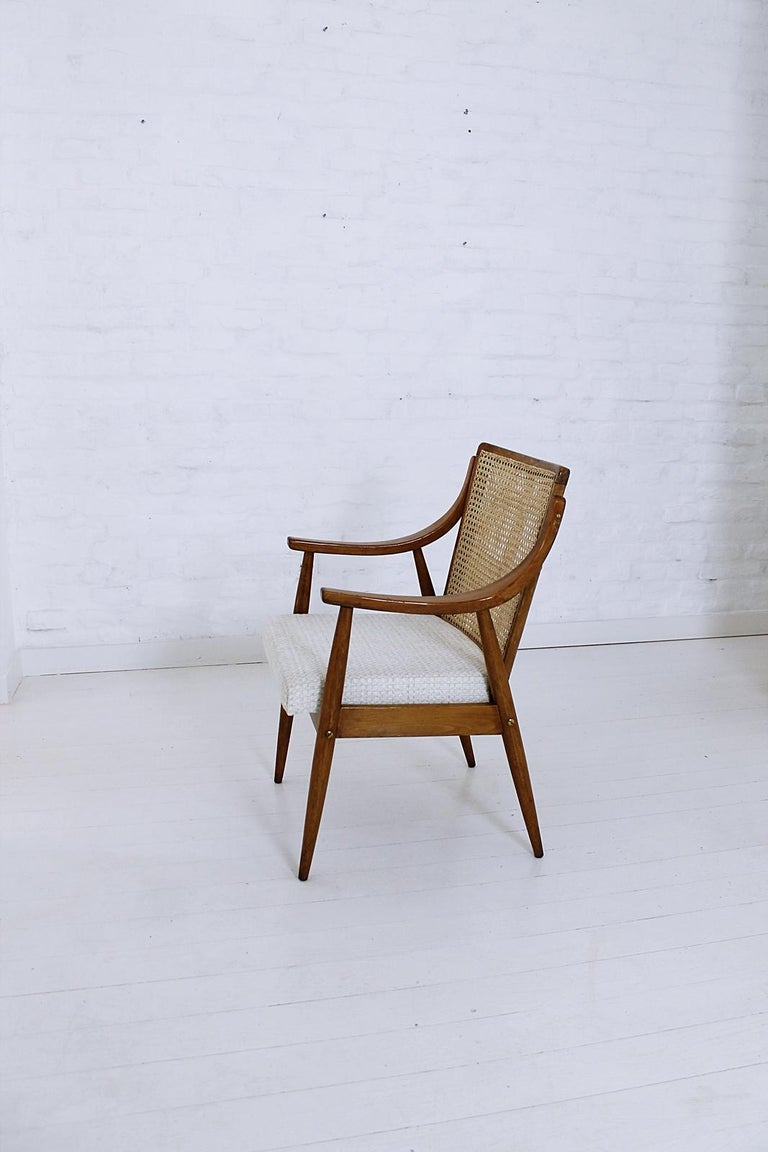 Vintage Mid-Century Modern Cane Back Armchair Hungary, 1960s For Sale 4