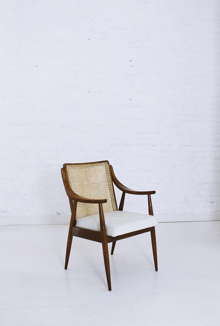 Vintage Mid-Century Modern Cane Back Armchair Hungary, 1960s For Sale 5