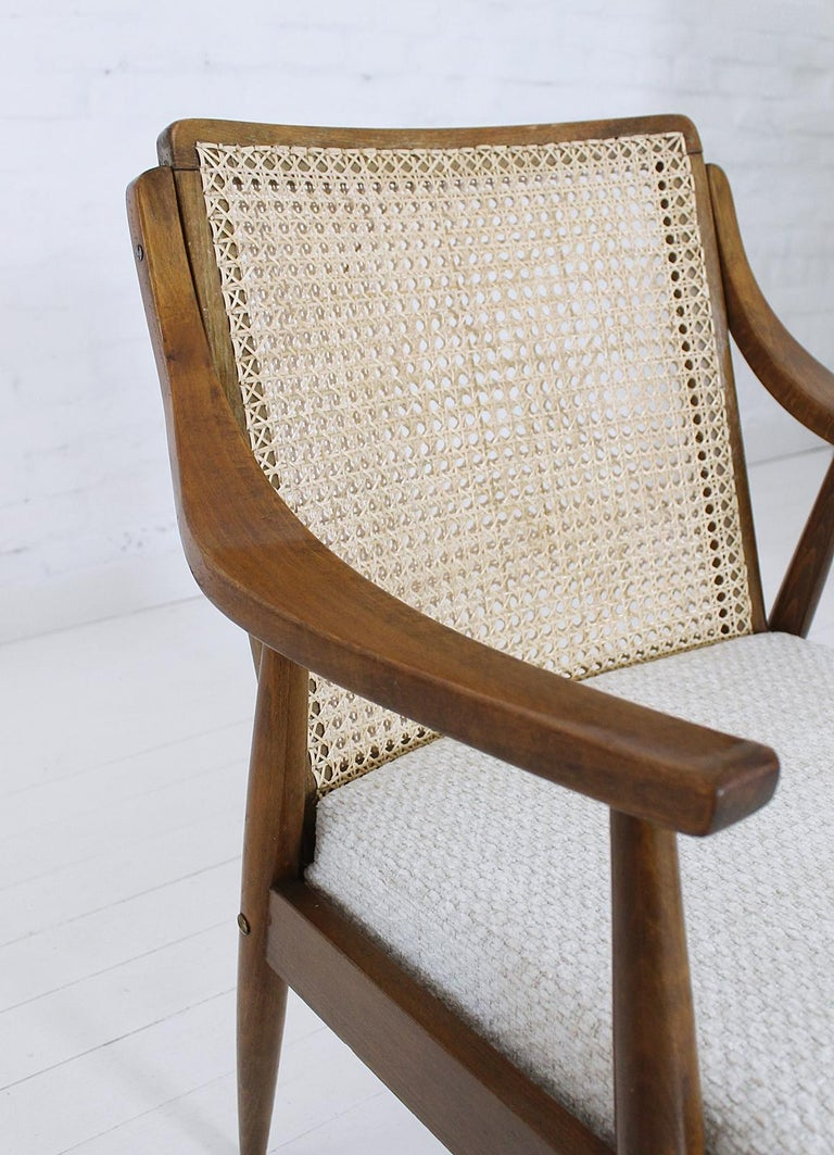 Vintage Mid-Century Modern Cane Back Armchair Hungary, 1960s For Sale 6