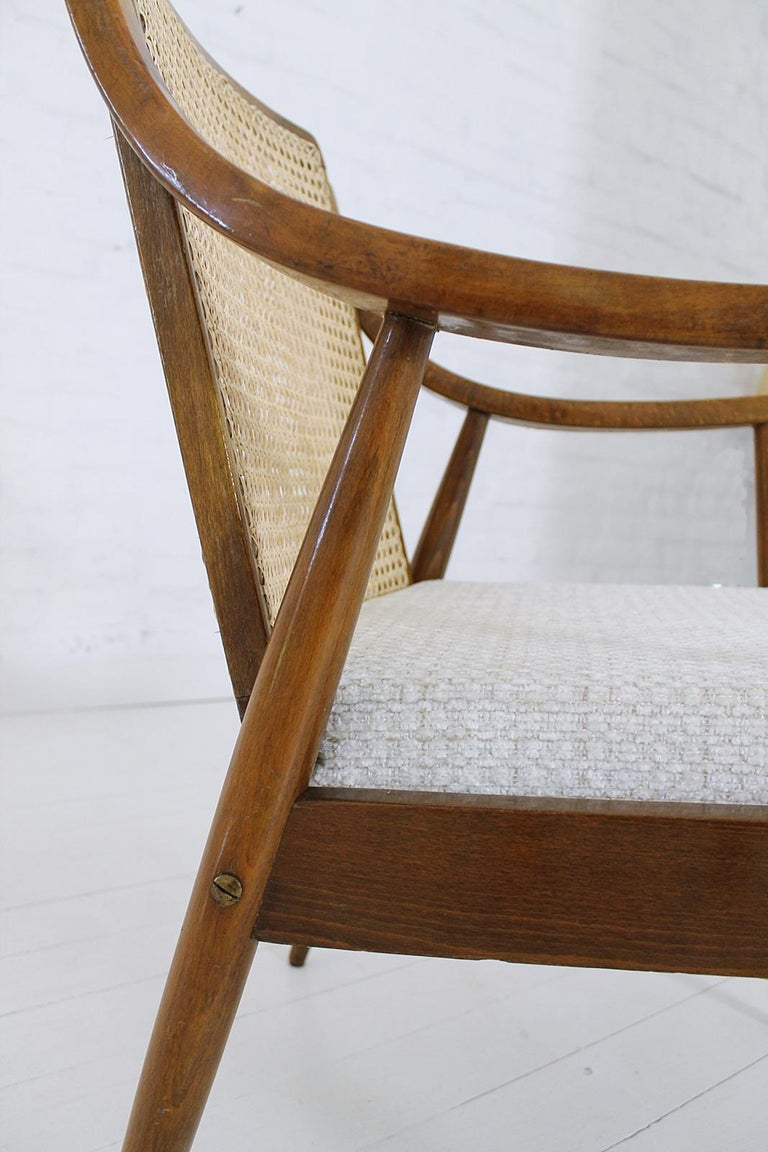 Vintage Mid-Century Modern Cane Back Armchair Hungary, 1960s For Sale 7