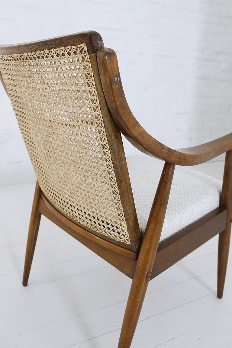 Vintage Mid-Century Modern Cane Back Armchair Hungary, 1960s For Sale 8