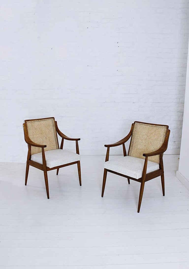 Hungarian Vintage Mid-Century Modern Cane Back Armchair Hungary, 1960s For Sale