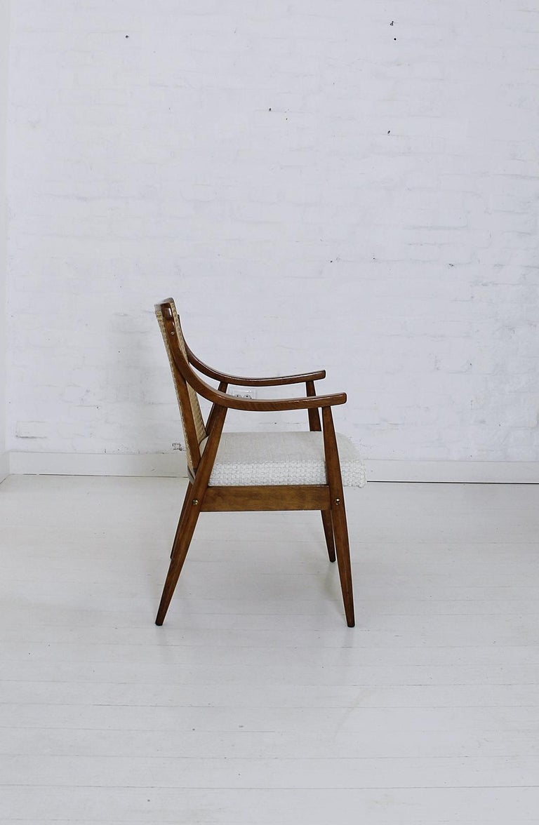 20th Century Vintage Mid-Century Modern Cane Back Armchair Hungary, 1960s For Sale