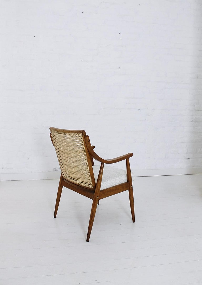 Fabric Vintage Mid-Century Modern Cane Back Armchair Hungary, 1960s For Sale
