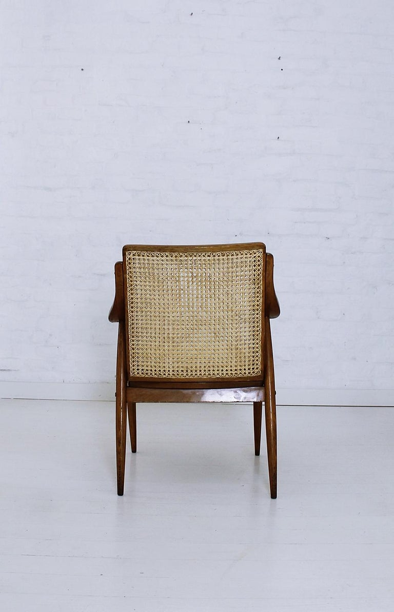 Vintage Mid-Century Modern Cane Back Armchair Hungary, 1960s For Sale 1
