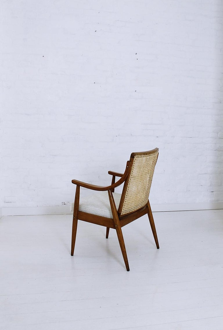 Vintage Mid-Century Modern Cane Back Armchair Hungary, 1960s For Sale 2