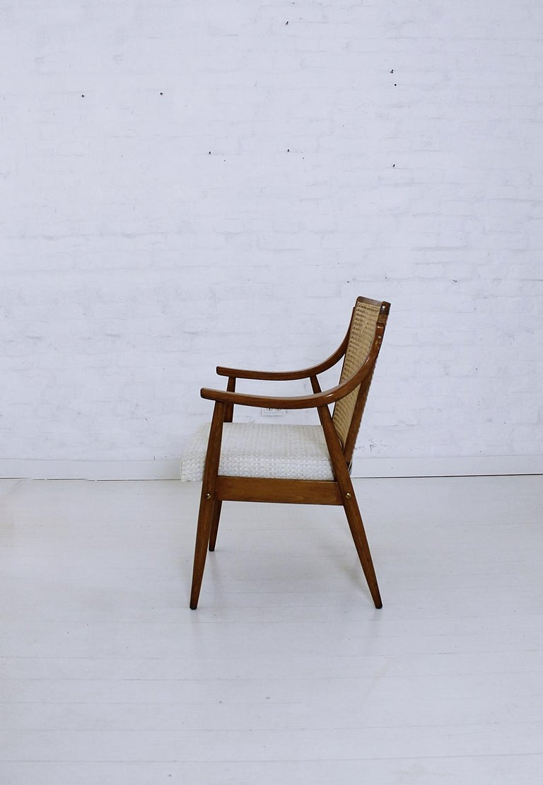 Vintage Mid-Century Modern Cane Back Armchair Hungary, 1960s For Sale 3
