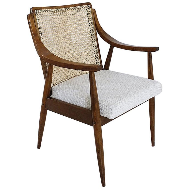 Vintage Mid-Century Modern Cane Back Armchair Hungary, 1960s For Sale
