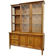 Vintage Mid-Century Modern Century Furniture Walnut China Cabinet Bookcase