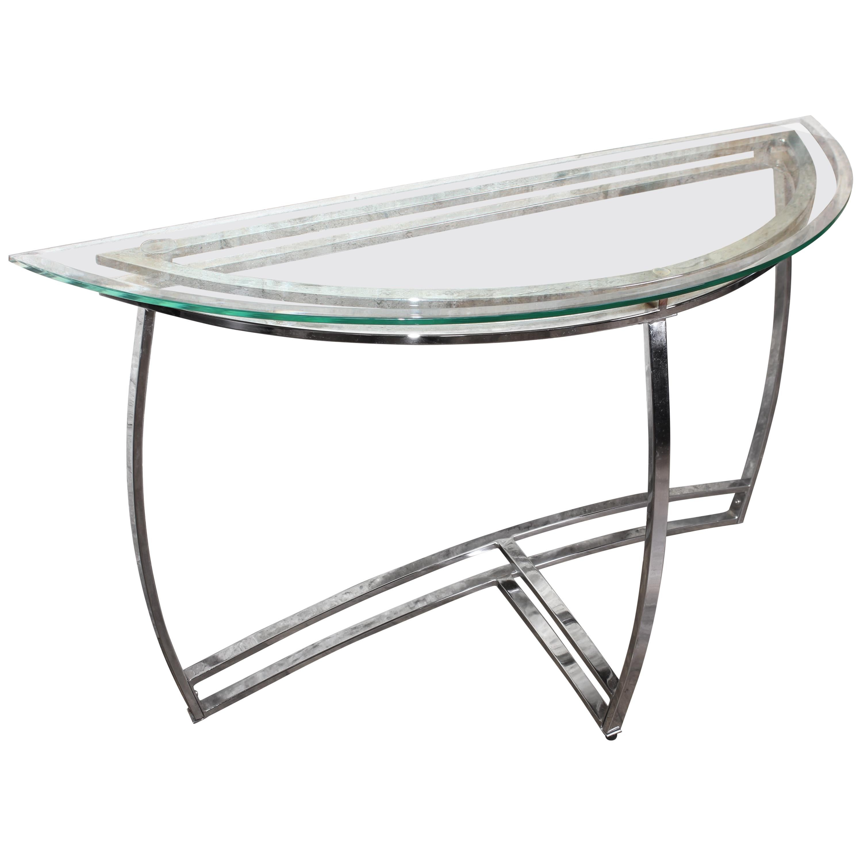 Vintage Mid Century Modern Chrome And Glass Console Table Hall Table