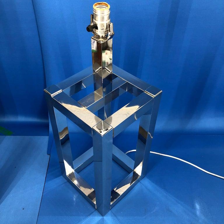 Vintage Mid-Century Modern Chrome Geometric Shaped Table Lamp For Sale 4