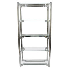 Vintage Mid-Century Modern Chrome Glass Baughman Étagère Bookcase Display Shelf