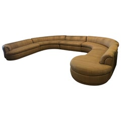 Vintage Mid Century Modern Curved 5 Piece Circular Serpentine Sectional Sofa