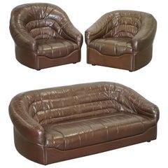 Vintage Mid-Century Modern Danish Style Brown Leather Sofa & Armchair Suite