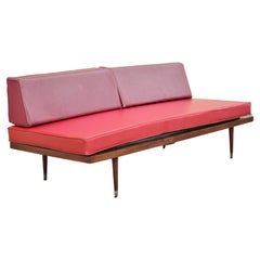 Vintage Mid-Century Modern Danish Style Walnut Sofa Daybed with Red Cushions