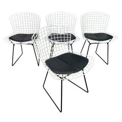 Vintage Mid-Century Modern Dining Chairs by H. Bertoia for Knoll, Set of Four