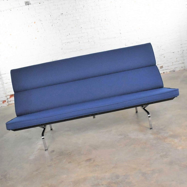 20th Century Vintage Mid-Century Modern Eames Sofa Compact in Blue by Herman Miller