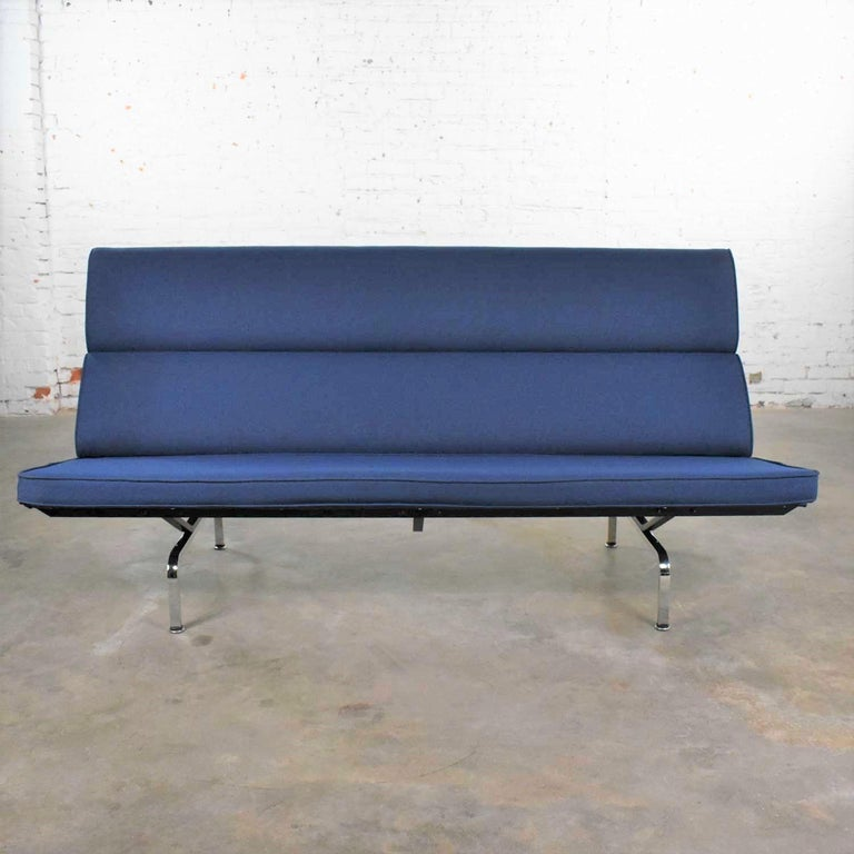 Fabric Vintage Mid-Century Modern Eames Sofa Compact in Blue by Herman Miller