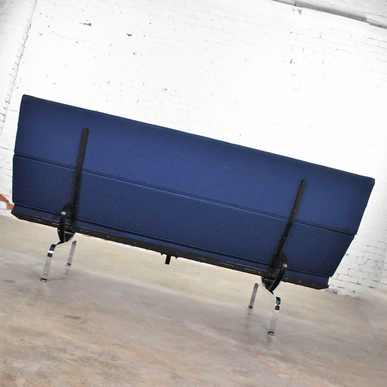 Vintage Mid-Century Modern Eames Sofa Compact in Blue by Herman Miller 3