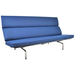 Vintage Mid-Century Modern Eames Sofa Compact in Blue by Herman Miller