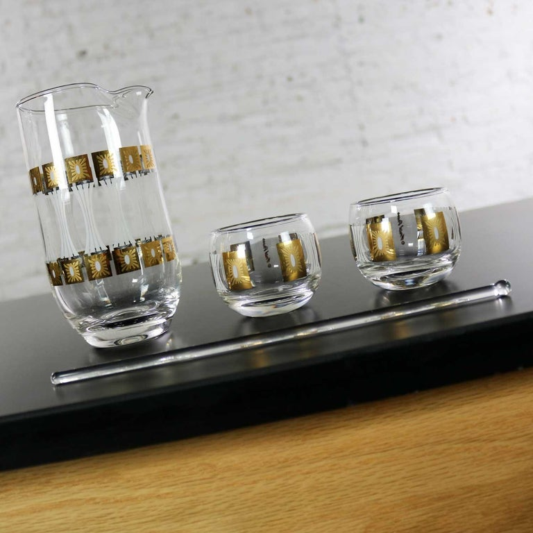Vintage Mid-Century Modern Fred Press Glass Cocktail Caddy Set Sun Block Patter For Sale 4