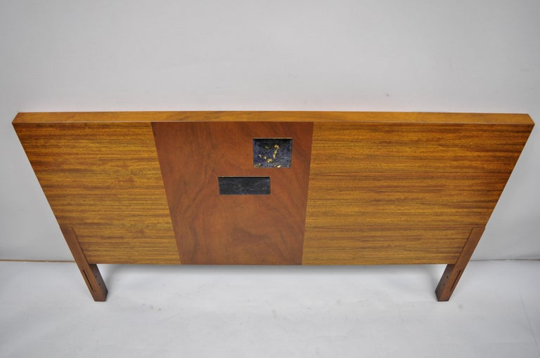 Vintage Mid-Century Modern Full Size Walnut and Tile Inlay Bed Headboard For Sale 4
