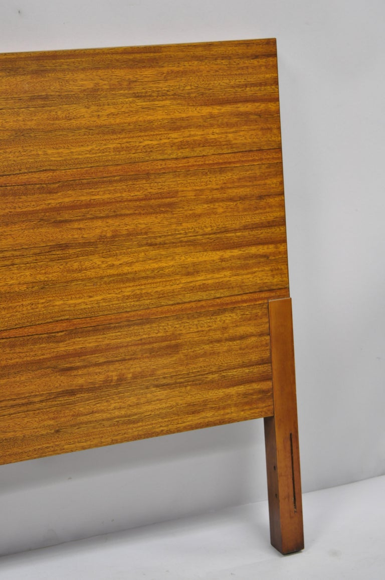 Vintage Mid-Century Modern Full Size Walnut and Tile Inlay Bed Headboard In Good Condition For Sale In Philadelphia, PA