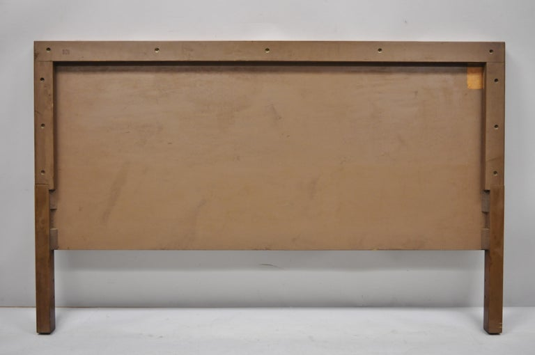 Vintage Mid-Century Modern Full Size Walnut and Tile Inlay Bed Headboard For Sale 3