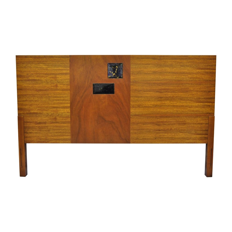 Vintage Mid-Century Modern Full Size Walnut and Tile Inlay Bed Headboard For Sale