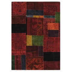Vintage Mid-Century Modern Handknotted Patchwork Rug in Red Tones