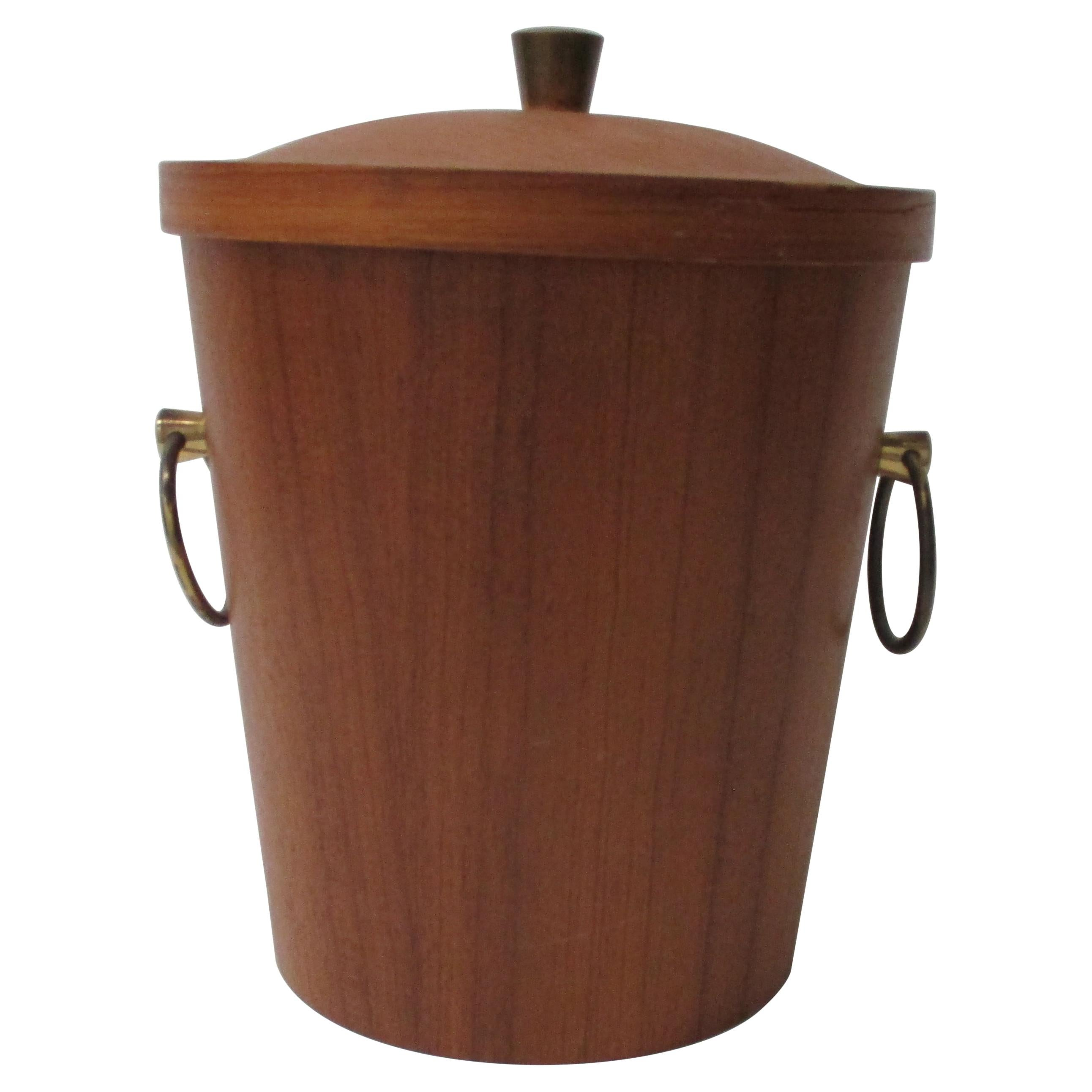 Vintage Mid-Century Modern Ice Bucket with Round Brass Handles
